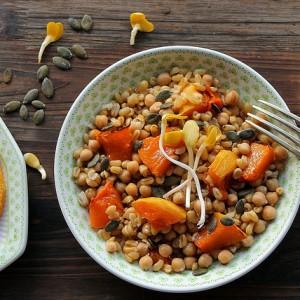 Wheat, pumpkin and chickpeas salad