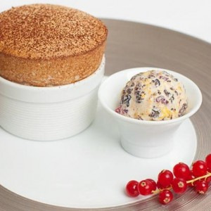 Dark Chocolate Souffle with Christmas Ice Cream