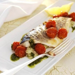 Sea bass with herb risotto