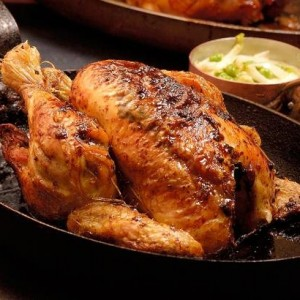 Herb roasted chicken with peas