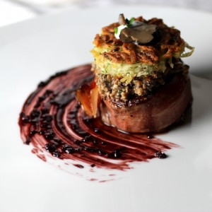 Filet Mignon Wrapped in Speck, Duxelles, Potato Cake, Painted Bordelaise Reduction