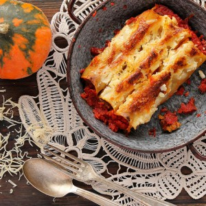Beef and pumpkin cannelloni