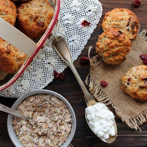 Cottage cheese and cranberries scones
