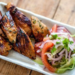Marinated Chicken strips with cucumber relish