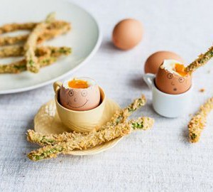 Happy Eggs with crispy asparagus spears