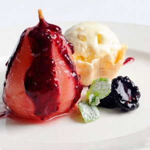 Stewed pear with coulis