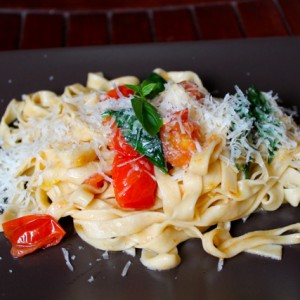 Tagliatelle and cherry tomatoes