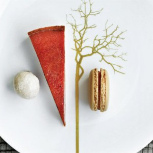 Salted Caramel Tart wit praline macaroons, praline cream and ginger and vanilla ice cream