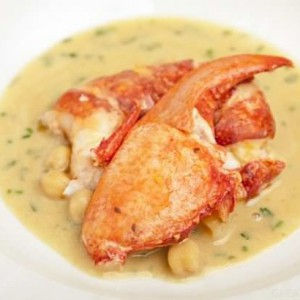 Lobster with chickpea and coriander sauce