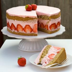 Strawberry Yoghurt Cake with Matcha Sponge