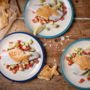 Baked mackerel with salsa and fishy crisps